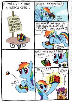 Rainbow Dash face au rubik's cube