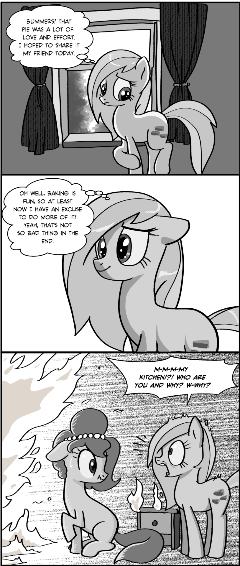 Can something nice happen to that poor mare who dropped her pie? It doesn't even have to be in the comic, I just want to know it's canon that her day got a little better after that.