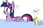 Winged ponies swimming is a really funny thing