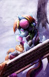 Wintery painting of Dash and Scootaloo
