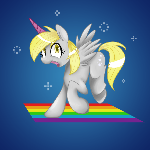 Grey fluffy unicorn dancing on rainbows