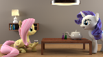 Rarity and Fluttershy meeting for some tea