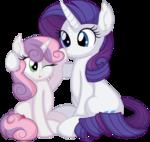 Rarity and Sweetie Belle Vector - Surprise Boop