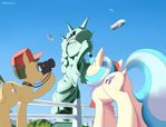 Coco pommel visits the great statue of liberty