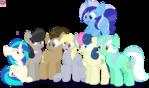 Background Ponies group vector