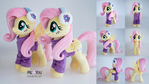 Fluttershy plushies in winter outfit