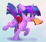 filly Twilight is running with toast in her mouth