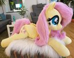Fluttershy Faux fur Cuddle size 3 feet / 90cm long