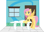 Fluttershy in a dollhouse