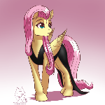 Fluttershy in a Plain Black Dress