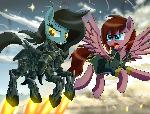 Crimson Sunset flies with robot pony 05