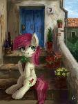 Pony in the village
