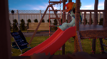 Dashie on a slide