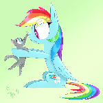 Rainbow Dash with a Cat