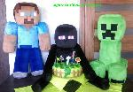 Minecraft plushies and Plants vs Zombies cake