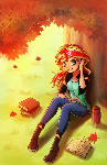 Commission 12 - Sunset Shimmer in autumn