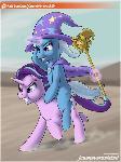 Trixie riding a pink horse [Reward]