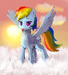 Fluffy Rainbow Dash with fluffy tongue