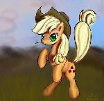 Applejack standing on two legs