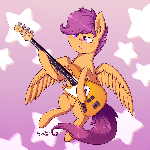 MLPFiM: Sad Scootaloo playing Fender Bass