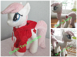 Nurse Redheart plush wearing red hoodie