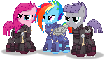 Crystal war Dash, Pinkie and Maud.