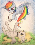 Rainbow Derp Neko Pegasi (Commission for Twotail)