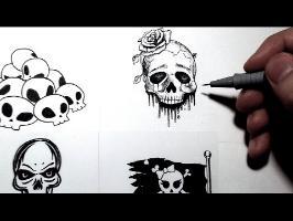 Comment dessiner une tête de mort - 4 styles [Tutoriel] #Inktober