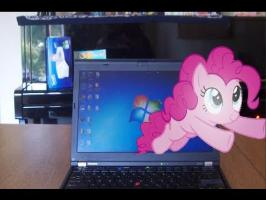 Pinkie Pie Destroys Another Computer Screen (Ponies In Real Life)