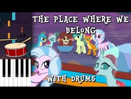 The Place Where We Belong - MLP:FIM - Synthesia [Piano Tutorial] with Drums