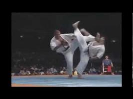 Fighters perform a spin kick at the same time