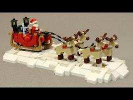 Motorized LEGO Santa's Sleigh and Reindeer